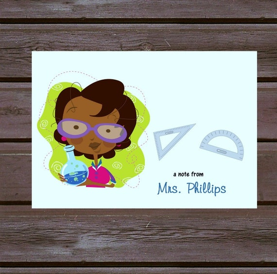 African-American Personalized Teacher Note Cards/ Boxed Set of 10