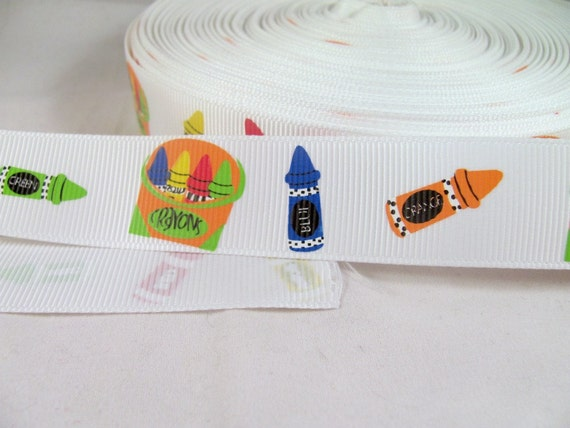 "Crayons Back to School 1"" Grosgrain Ribbon in Primary Colors"