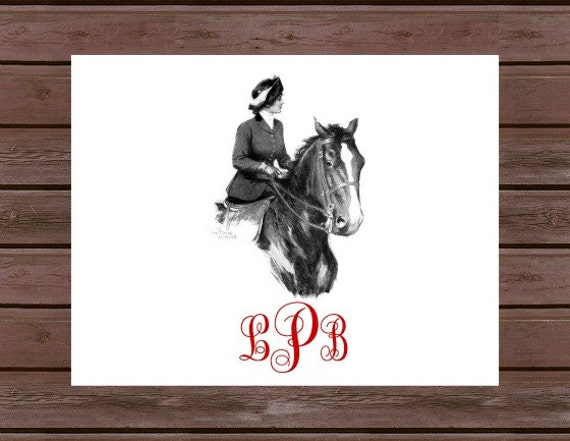 Monogrammed Equestrian Horse and Rider Note Cards- Set of 10
