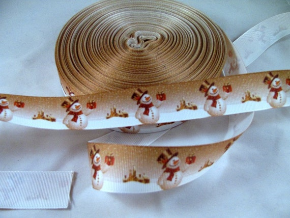 "Snowman Ribbon 1 Yard 7/8"" Grosgrain Ribbon"