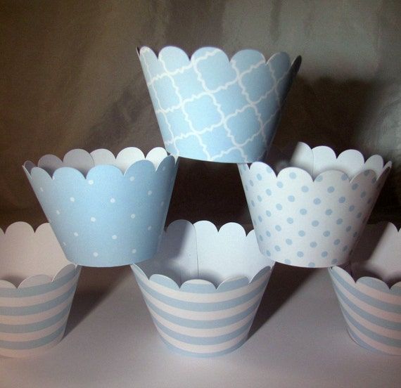 Baby Blue Cupcake Wrapper, Baby Shower Cupcake Wrappers, Blue and White, Set of 12  Cupcake Wrappers