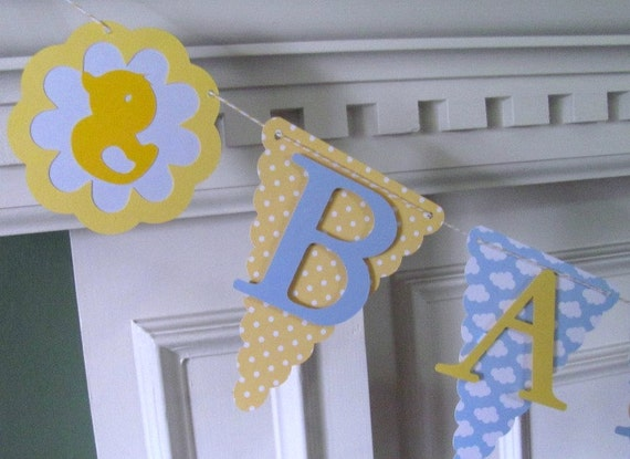Baby Shower Banner, Baby blue, yellow rubber ducky