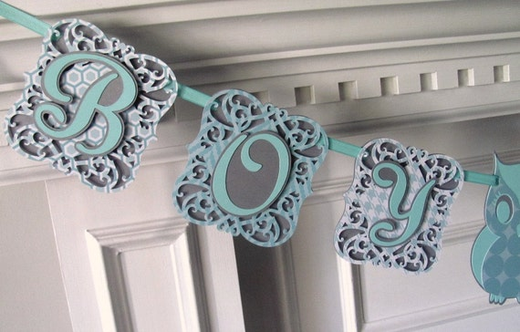 Boy Oh Boy Baby Shower Banner, Silver and Robins Egg Blue