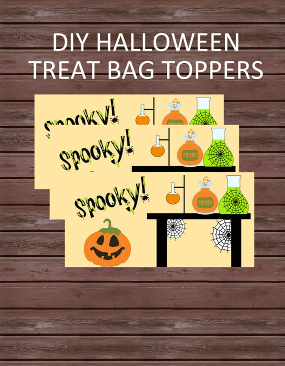 DIY Halloween Treat Bag Toppers, Instant Download, Spooky Science Lab