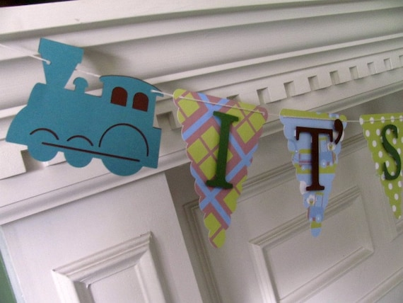 ChooChoo Baby Banner-It's a Boy, Welcome Baby in brown, blue, green