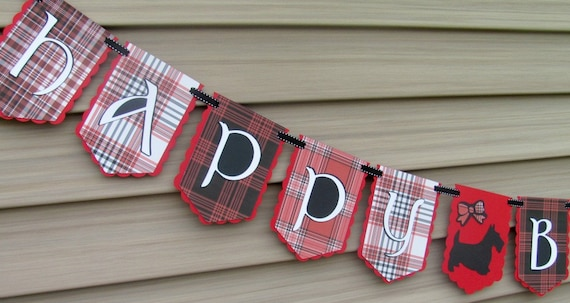 Happy Birthday Banner, Tartan Plaid Birthday Banner, Celtic Birthday Banner with Scotty Dog