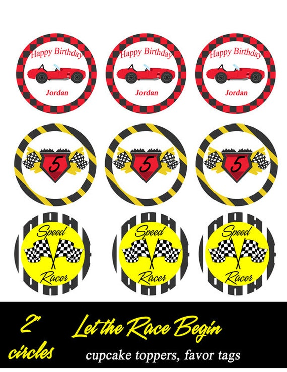 DIY Printable Cupcake Toppers PDF- 1 Dozen NASCAR Race Themed Toppers