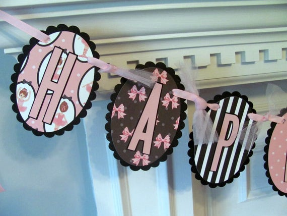 Birthday Banner, Ballet Birthday Banner, Pink and Black Ballet Birthday Banner with Pink Tulle