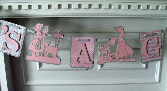 It's A Girl Banner Baby Shower, Nursery Rhyme Banner, Little Bo Peep Banner, Pink and Gray baby shower