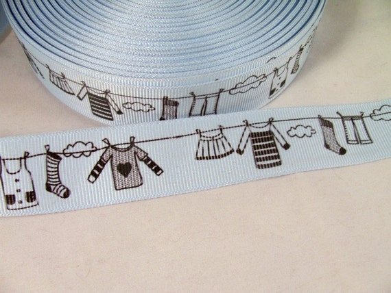 "1 Yard 7/8"" Clothes Line Ribbon in Soft Blue and Black"