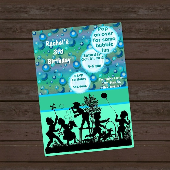 Bubbles Birthday Invitation with Vintage Silhuoette.