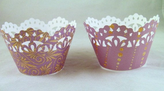 Cupcake Wrapper, Lavender, Gold Cupcake Wrappers, Set of 12, Baby Shower, Birthdays, Weddings