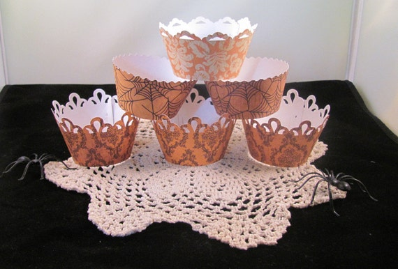 Halloween Cupcake Wrappers featuring Orange Damask Paper for a Vintage Look