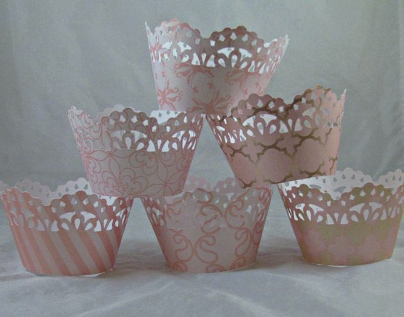 Cupcake Wrapper, Blush Pink, Gold Cupcake Wrappers, Set of 12, Baby Shower, Birthdays, Weddings