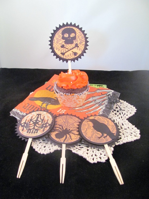 Victorian Inspired Halloween Cupcake Toppers/Cocktail Forks featuring Damask
