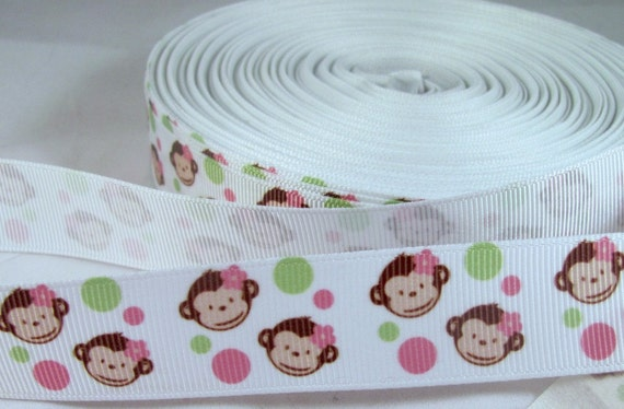 "Monkey Face 7/8"" Grosgrain Ribbon in pink, green"
