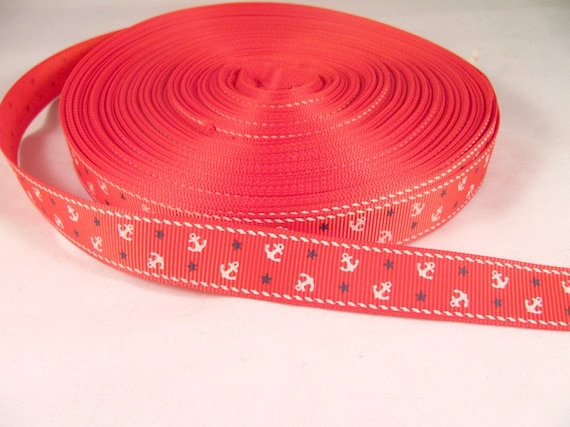 "Nautical Anchor Ribbon 1 Yard 5/8"" Grosgrain Ribbon"
