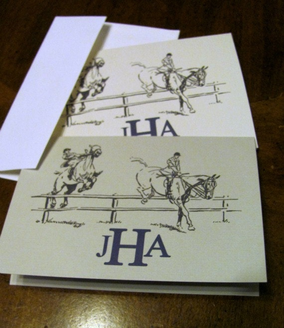 Vintage Steeplechase,  Monogrammed Equestrian Horse Shoe Note Card-Set of 10