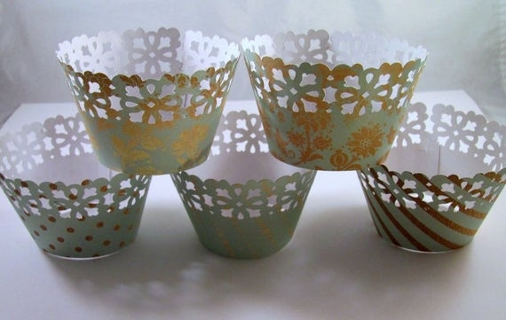 Cupcake Wrapper, Mint and Gold Cupcake Wrappers, Set of 12, Baby Shower, Birthdays, Weddings