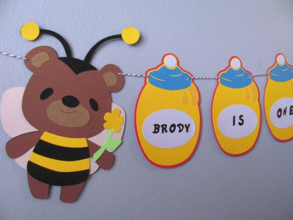 Personalized High Chair Birthday Banner featuring bear and his honey pots