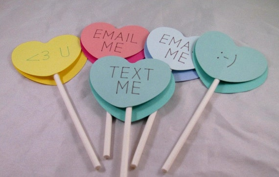 Candy Hearts with Text Cupcake Toppers, Pastels for Valentine's Day, Set of 12