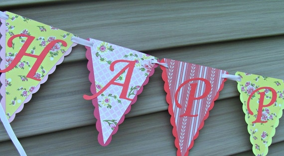 Happy Birthday Banner, Shower, Bridal Banner, Mother's Day Banner, Shabby Chic Floral Banner