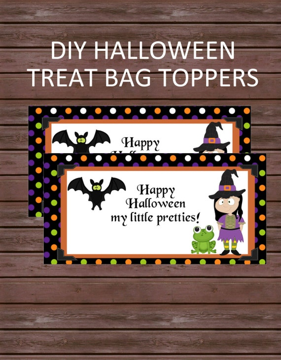 Personalized DIY Halloween Treat Bag Toppers,  Happy Halloween, Polka Dots, Witches, Frogs and Bats