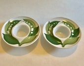 Pair of Retro Thomas Germany Porcelain Egg Cups or Candle Holders Lily of the Valley