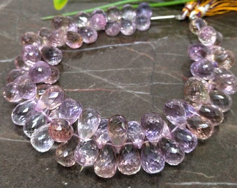 Natural Crystal Quartz 8-9mm Faceted Drops Briolette Beads  Approx 90 pieces on 8 Inch long strand  JBC-ET-BCRY032 WHOLESALE