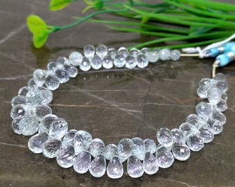 Natural Natural Blue Topaz 7-11mm Faceted Drops Briolette Beads  Approx 78 pieces on 8 Inch long strand  JBC-ET-140211