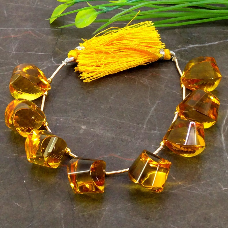 Hydro Citrine 17.5-18mm Step Cut Drops Briolette Beads  Approx 8 pieces on 6 Inch long strand  JBC-ET-153765