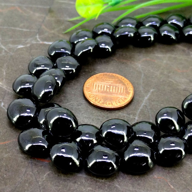 Natural Black Spinel 10-12mm Smooth Heart Briolette Beads  Approx 40 pieces on 8 Inch long strand  JBC-ET-148809