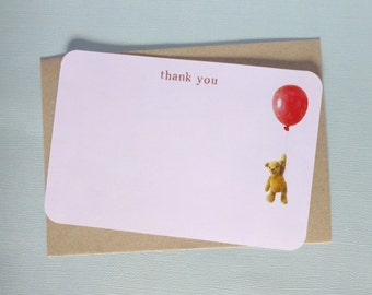 Floating Teddy Bear with Balloon Note Cards - Thank You - with envelopes