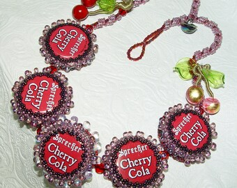 Bottled Cherries Necklace Bead Embroidery Necklace SALE 75.00 was 150.00