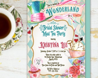 alice in wonderland tea party bridal shower invitation mad hatter tea party bridal shower printable invitation 6v1