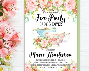 shabby chic invitation floral tea party high tea birthday etsy