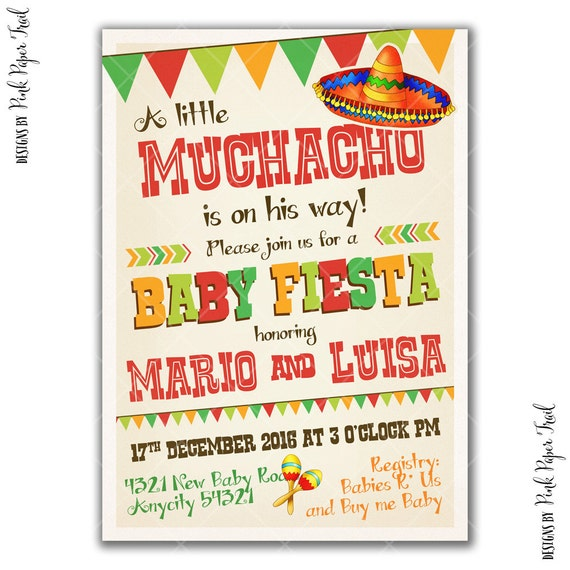 fiesta party invitation boy party baby shower little muchacho i