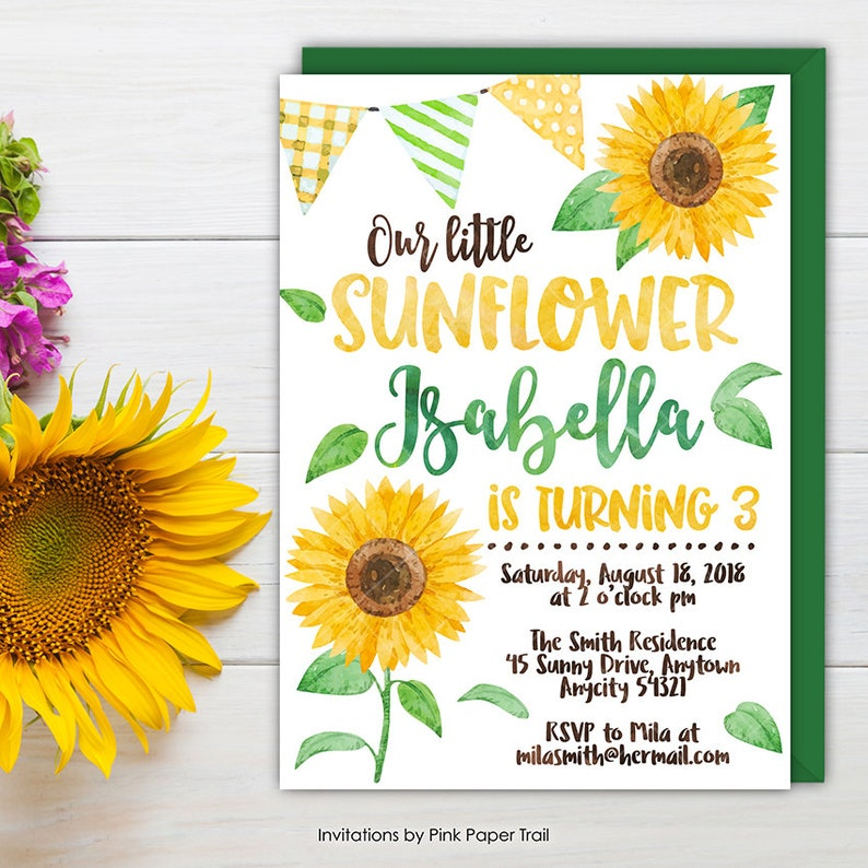 Sunflower Birthday Invitation Rustic Watercolor Invite Our Little Floral Printable