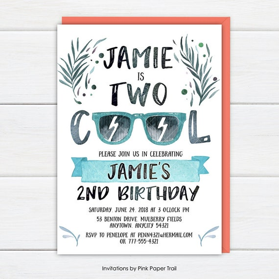 two cool birthday invitation two cool birthday party invite 2nd