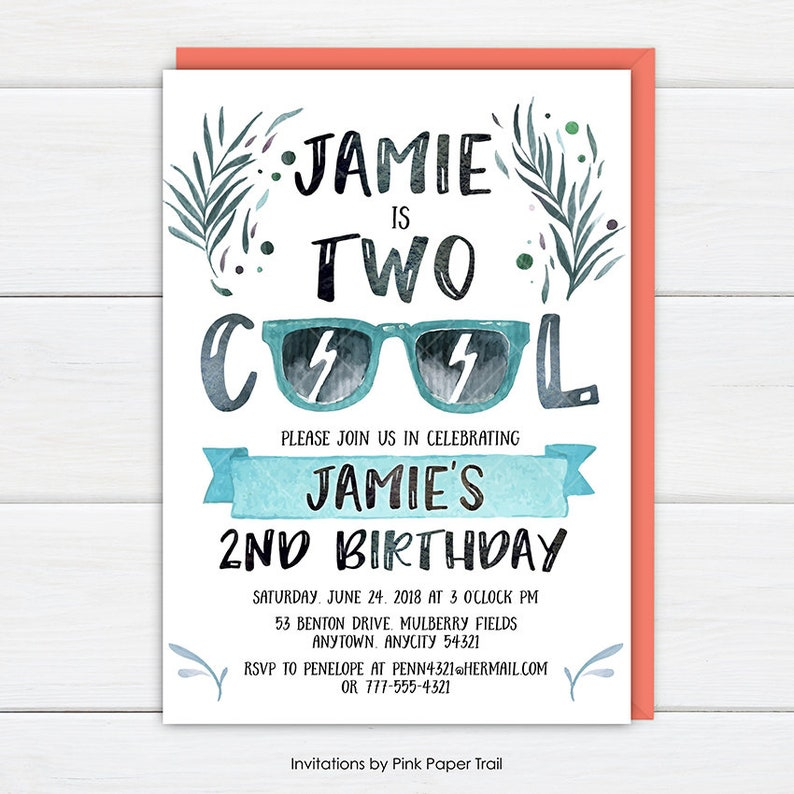 Two Cool Birthday Invitation Party Invite