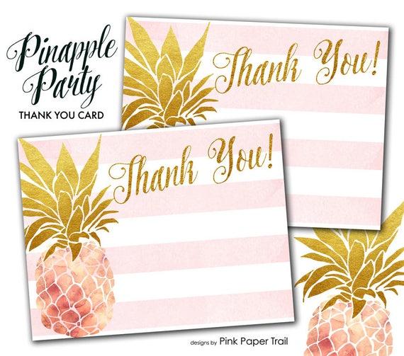 Aloha Pineapple Luau Hawaiian Tropical Party Thank You Card Etsy