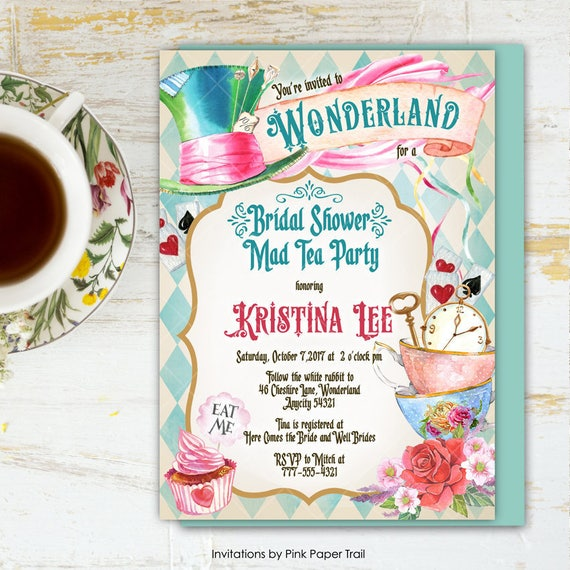 Alice In Wonderland Tea Party Bridal Shower Invitation Mad