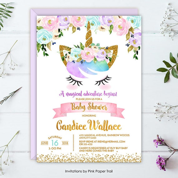 Unicorn Baby Shower Invitation Magical Rainbow Floral Unicorn Baby