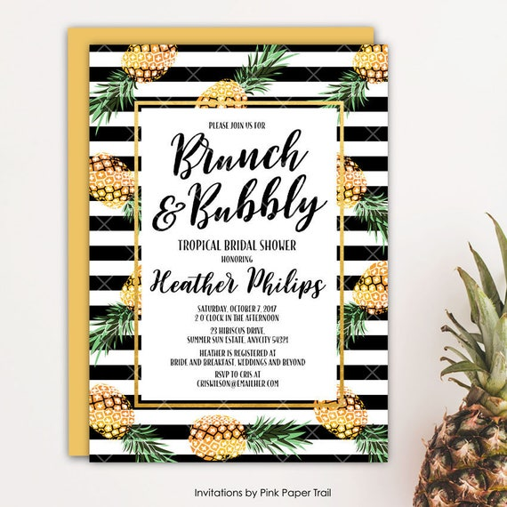 Pineapple Brunch And Bubbly Bridal Shower Invitation Party Like A