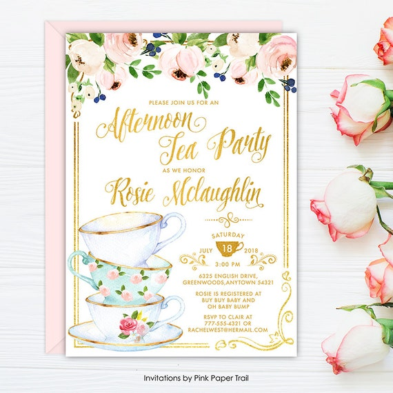 baby shower tea party invitation afternoon tea girl baby etsy