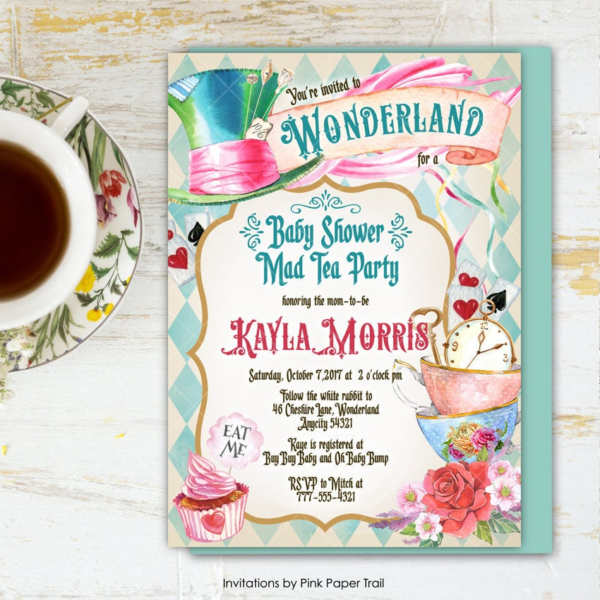Alice In Wonderland Tea Party Baby Shower Invitation Mad Hatter Printable 6v1