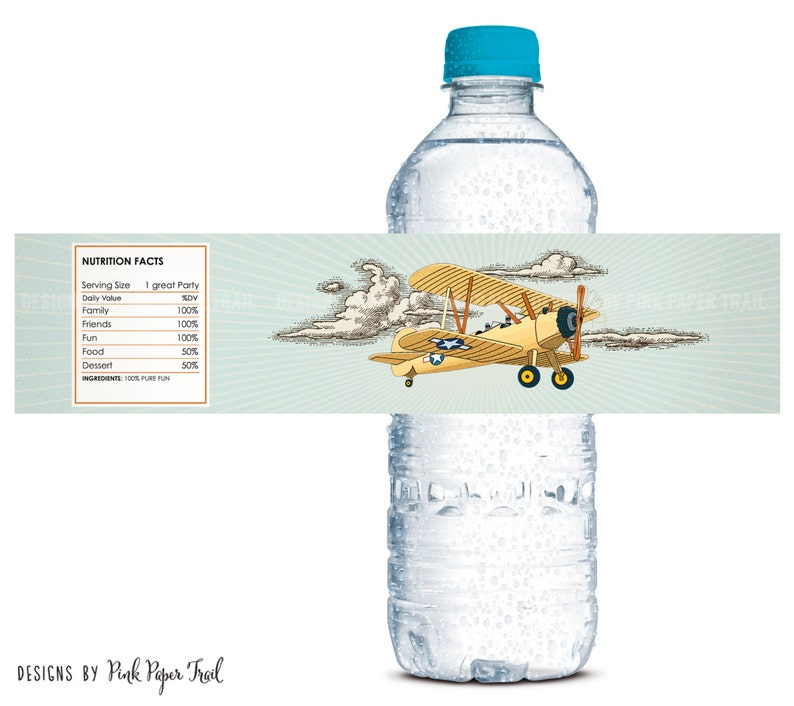 Vintage Retro Airplane Water Bottle Labels Party