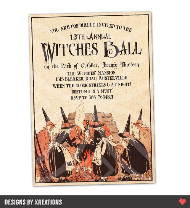 Halloween Witches Ball Invite