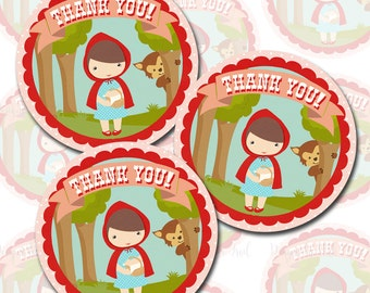 Little Red Riding Hood Party Favor Tags, Thank You Tags, Instant Download, Print Your Own
