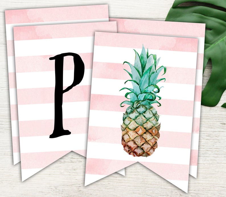 Pineapple Party Happy Birthday Banner Pink and White and ...
